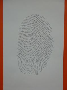 """Typographic Thumb Print """"Self Portraits""""  Good conversation about What is Art? Typography; Self Portrait"""