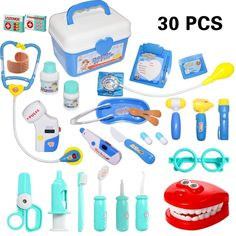 30 Pieces Doctor Kit Pretend Play Doctor Pretend Toy Doctor Kit for Toddler, Kids, Girls and Boys Toys For Girls, Kids Girls, Boys, Toddler Toys, Kids Toys, Elmo Toys, Ryan Toys, Plastic Toy Soldiers, Playing Doctor