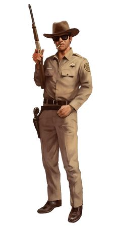 Country Sheriff Deputy with a Rifle Character Concept, Character Art, Concept Art, Post Apocalypse, Gangsters, Mafia, U2 Poster, Apocalypse Character, D20 Modern