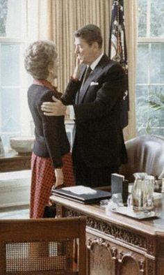 Show of affection: Ronald and Nancy Reagan celebrate their wedding anniversary