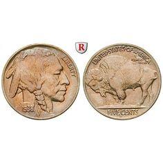 USA, 5 Cents 1942, vz-st: Kupfer-Nickel-5 Cents 1942 D, Denver. Buffalo. KM 134; vorzüglich-stempelfrisch 30,00€ #coins