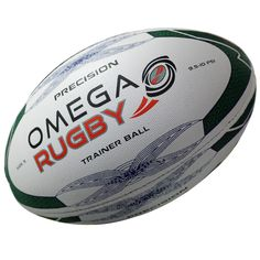 The Omega Rugby Precision training ball is constructed with a top quality rubber outer, including a long lasting dimpled finish, for superior grip and tackiness in all weather conditions. Hand stitched and balanced for superior flight and accuracy, an ideal ball for club, school and junior rugby. Rugby Training, Weather Conditions, Soccer Ball, Omega, Ballons, Club, Black And White, School, Sports