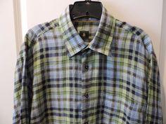 Robert Talbott Designer Blue/Green Gingham Plaid 100% Linen Shirt SZ L Mint #RobertTalbott #ButtonFront