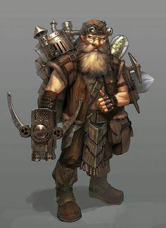 m Dwarf Fighter tinker traveler flame thrower backpack Fantasy Dwarf, Fantasy Rpg, Fantasy World, Medieval Fantasy, Dungeons And Dragons Characters, Dnd Characters, Fantasy Characters, Warhammer Fantasy, Steampunk