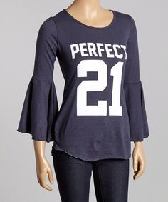 """Does anyone else see this and think """"How am I going to fit those sleeves in my coat?"""" This Navy 'Perfect 21' Bell-Sleeve Top is perfect! #zulilyfinds"""