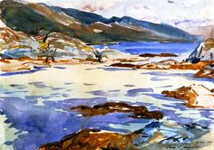"""Loch Moidart, Inverness-shire John Singer Sargent, watercolor over pencil on paper, 9 x 13 private collection. Watercolor Water, Watercolor Landscape, Landscape Paintings, Landscapes, Abstract Landscape, Watercolour Painting, John Singer Sargent Watercolors, Inverness Shire, Sargent Art"