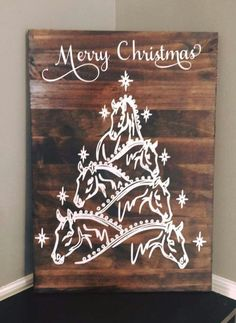 Horse Christmas tree sign