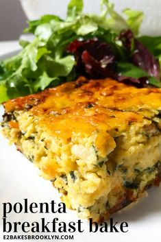 Veganize milk, cheese, butter, sausage, and egg (use Just Egg) Polenta Breakfast, What's For Breakfast, Breakfast Dishes, Breakfast Casserole, Breakfast Recipes, Brunch Recipes, Meat Recipes, Vegetarian Recipes, Cooking Recipes