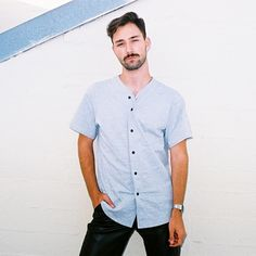 David in the new Thick Knit Baseball Jersey. Summer, 2014. #AmericanApparel #Menswear