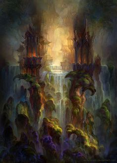 Waterfalls by SnowSkadi underground dark elf drow vampire castle city waterfall landscape location environment architecture   Create your own roleplaying game material w/ RPG Bard: www.rpgbard.com   Writing inspiration for Dungeons and Dragons DND D&D Pathfinder PFRPG Warhammer 40k Star Wars Shadowrun Call of Cthulhu Lord of the Rings LoTR + d20 fantasy science fiction scifi horror design   Not Trusty Sword art: click artwork for source