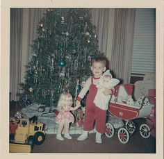 Antique Vintage Photograph Adorable Baby With Dolls Carriage Christmas Tree Toys