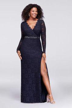 Glitter Lace Surplice Plus Size Mermaid Gown 3329DB1W