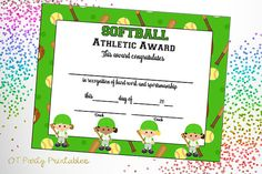 Softball Certificate Of Achievement