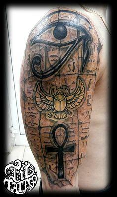 Half Sleeve Tattoos Drawings, Body Art Tattoos, Cool Tattoos, Tatoos, Good And Evil Tattoos, Arm Tattoos For Guys, Ankh Tattoo, Lion Tattoo, Power Tattoo