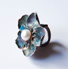 Ring by Lera Ginsburg. Sterling silver patinated, pearl. www.leraginsburg.com