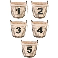 Aidan Gray Decor Wire Number Basket Set (565 CAD) ❤ liked on Polyvore featuring home, home decor, small item storage, wire bin, round storage basket, wire home decor, round wire basket and storage baskets