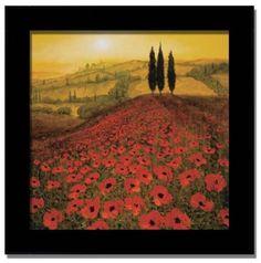 Amazon.com: Poppies Ii Italian Tuscan Decor Framed Art Picture: Home & Kitchen