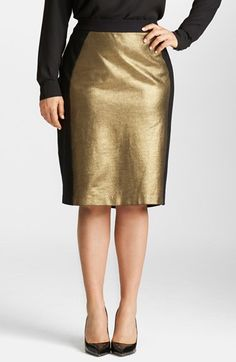 Mynt 1792 Metallic Ponte Pencil Skirt (Plus Size) available at #Nordstrom