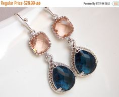 SALE Peach Earrings Navy Blue Glass Silver Champagne by mlejewelry