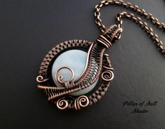 Wire Wrapped pendant Amazonite gemstone / copper jewelry / wire wrapped jewelry handmade / woven wire jewelry / copper necklace blue green by PillarOfSaltStudio on Etsy https://www.etsy.com/listing/215752128/wire-wrapped-pendant-amazonite-gemstone