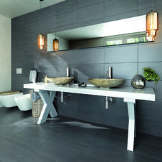 The appearance of formwork and concrete inspire a collection conceived for interiors with a minimal appeal. Discover Neptune Collection by Cisa! Neptune, Double Vanity, Dining Bench, Minimalism, Bathroom, Architecture, Kitchen, House, Inspiration