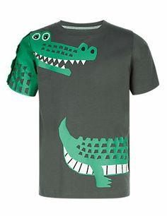Black Pure Cotton Crocodile Graphic T-Shirt