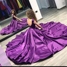 Prom dress,Opening Back Prom Dresses Long 2018 Puffy Purple Satin Lovely Ball Gowns Concise Cap Sleeves Evening Party Dress Fast Shipping