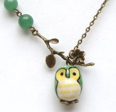 Antiqued Brass Branch Jade Porcelain Owl Necklace.