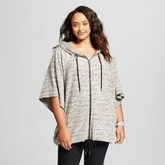 Women's Plus Size Jacquard Hooded Poncho - Mossimo Supply Co.(Juniors')