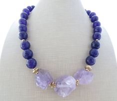 Lavender amethyst necklace, chunky necklace, big bold necklace, purple jade necklace, beaded necklace, stone jewelry, contemporary jewelry by Sofiasbijoux on Etsy