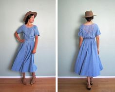 denim dress / 90s denim dress / chambray midi dress by MILKTEETHS, $64.00
