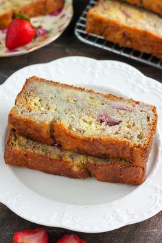 Greek Yogurt Strawberry Banana Bread - our favorite banana bread in the Summer!