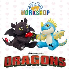 Toothless and Stormfly are the perfect pair! They also make the perfect Valentine's gift from Build-A-Bear Workshop! http://bit.ly/DragonsAtBABW