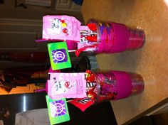 Valentine Gift for teenagers  Insulated cup filled with favorite candy  iTunes card glued to skewer Misc candy glued to skewers