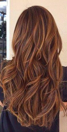 Long #brunette with caramel hi lights