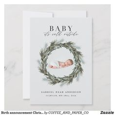 Shop Winter birth announcement Christmas photo Holiday created by COFFEE_AND_PAPER_CO. Holiday Birth Announcement, Newborn Announcement, Baby Announcement Cards, Birth Announcements, Christmas Photo Cards, Christmas Photos, Holiday Cards, Christmas Holiday, Christmas Decor