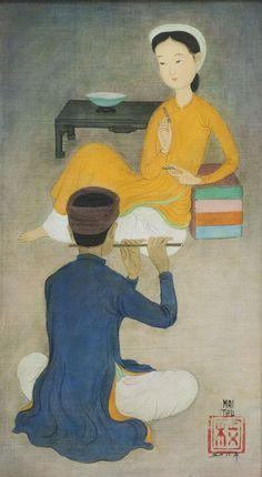 MAI Trung Thứ (1906-1980),Mélodie.Encre et gouache sur soie,34,5 x 19 cm,1956.Collection particulière© Christian Murtin