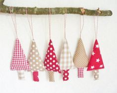 Christmas bunting christmas tree garland by FromJeanne on Etsy. Fabric Christmas Trees in Gingham & Dots.