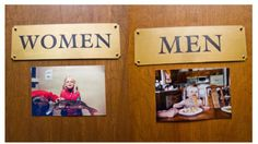 Use the bride and grooms childhood images on the doors as a fun way to identify the bathrooms at your wedding venue!  wedding ideas.  wedding decor.  bathroom wedding ideas.  wedding decorations.