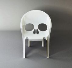"""The Skull Chair """"Souviens toi que tu vas mourir"""" (remember that you will die) chair by Pool, from the """"Nouvelle Vague (New Wave), the New French Domestic Landscape"""" exhibition at the Milan Design Furniture Lawn Chairs, Garden Chairs, Outdoor Chairs, Adirondack Chairs, Ghost Chairs, Outdoor Art, Outdoor Living, Chair Design, Furniture Design"""