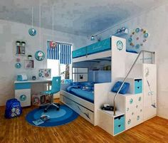 kids bedroom bedroom interior teens bedroom white bunk beds and white study table with blue chair on blue rug in doraemon themed bedroom fascinating decorating ideas for boys bedrooms Modern Bunk Beds, Cool Bunk Beds, Bunk Beds With Stairs, Kids Bunk Beds, Modern Bedroom, Tween Beds, Bedroom Simple, Play Beds, Bed Stairs