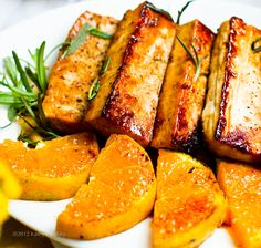 Citrus-Tamari Tofu Steaks with Warm Satsumas & Rosemary Recipe