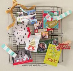 R & R Workshop: Cooling Rack Christmas Card Holder #christmas #cards #diy