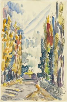 Paul Signac, Les Alyscamps, Arles, watercolor and charcoal on paper, 1904
