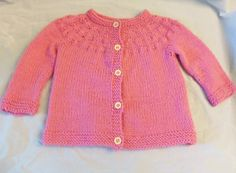 Wool Pink Girls Hand Knitted Baby Sweater Cardigan by FantasyClay