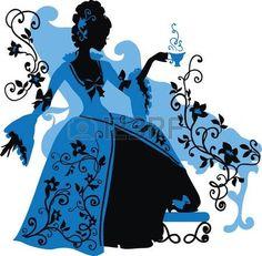 principessa vintage: Graphic silhouette di una donna rococò con un berretto di…
