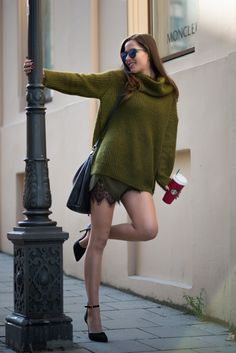 Lace shorts with sheer tights, ankle strap heels, and over size knit sweater. Beauty on High Heels #Fashion