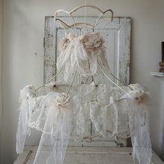 Shabby white lace lampshade antique French tambour lace embellished salvaged Victorian wire lamp shade lighting decor anita spero design