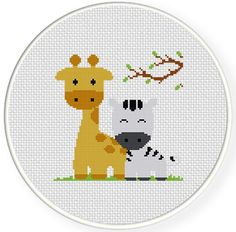 INSTANT DOWNLOAD Stitch Giraffe And Zebra PDF Cross Stitch Pattern Needlecraft