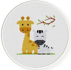 INSTANT DOWNLOAD Stitch Giraffe And Zebra PDF Cross Stitch Pattern Needlecraft